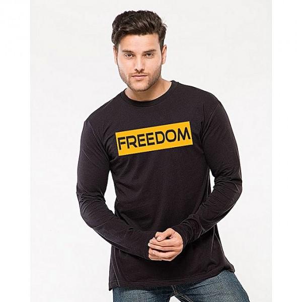 Black Freedom Printed T shirt For Him