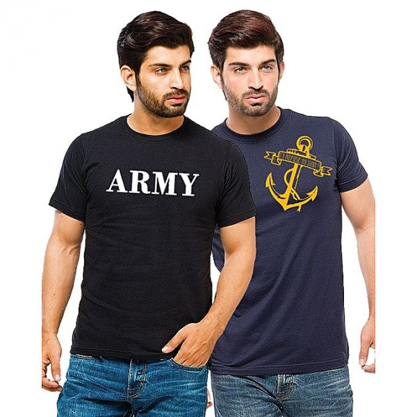 army Pack of 02 Cotton Printed T shirts For Men