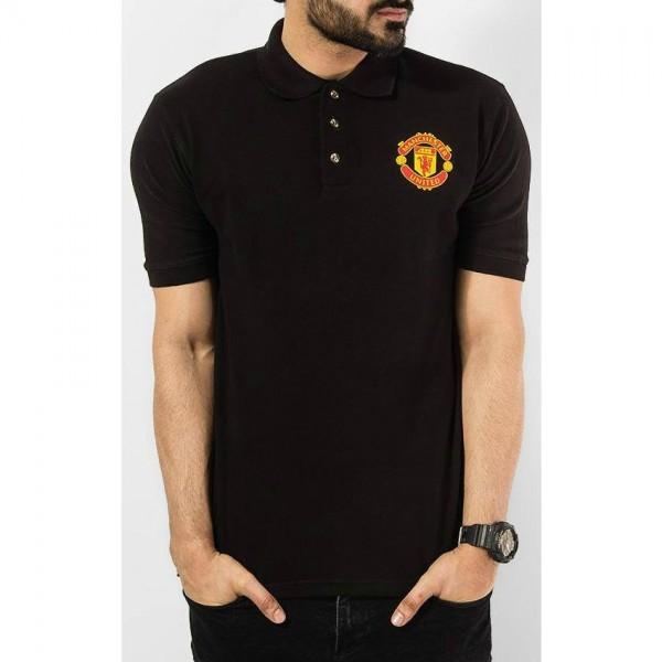 Black Manchester Logo Cotton Polo Shirt For Him