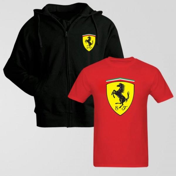 Bundle of Ferrari Hoodie and T shirt for Men