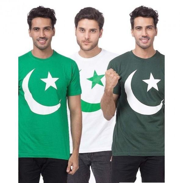 Pack of 3 Multicolour Cotton Pakistani Flag Printed T-Shirt For Men
