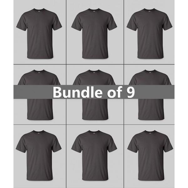 Bundle of 09 Plain Black T shirts