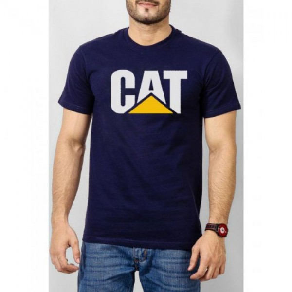 Navy Blue CAT Printed Cotton T shirt For HIm