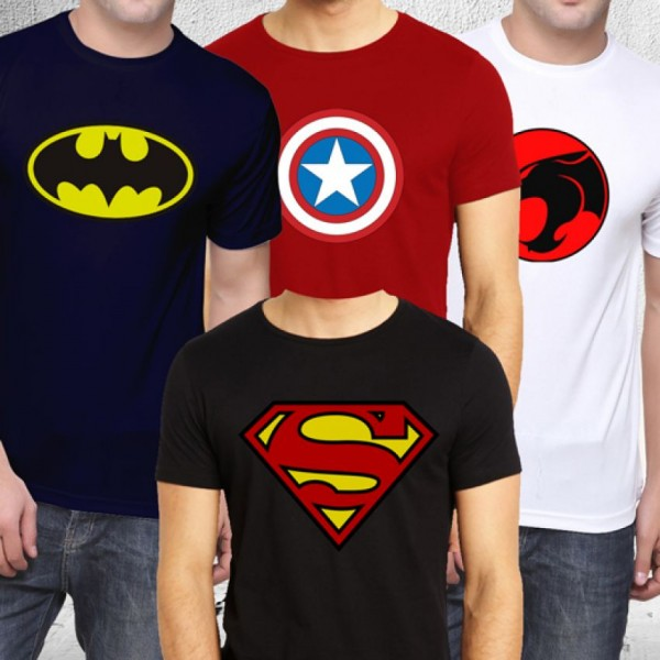 Pack of 04 Super Heroes Cotton T shirts