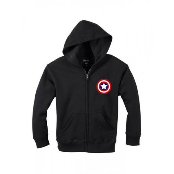Captain America Logo Black Hoodie