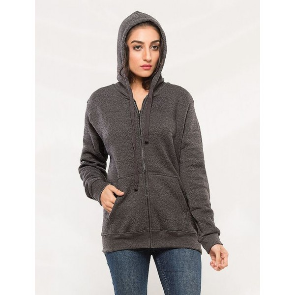 Charcoal Zipper Hoodie For Her