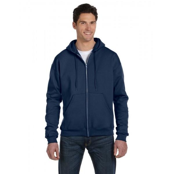 Mens Plain Navy Zipper Hoodie