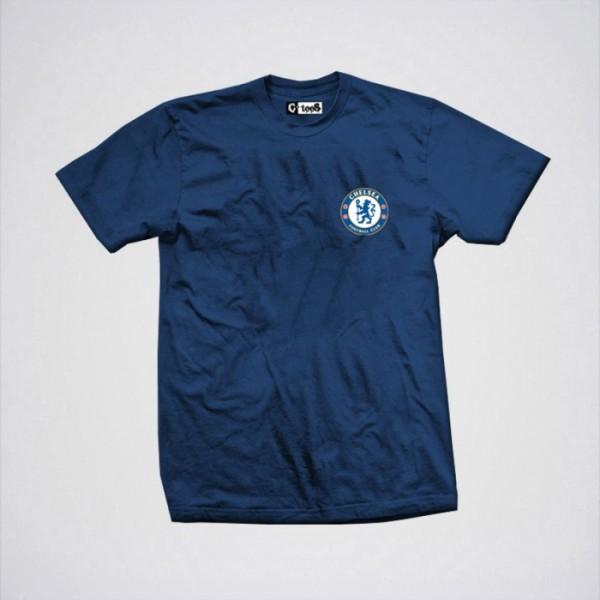 Navy Blue Chelsea Logo Printed Cotton T shirt