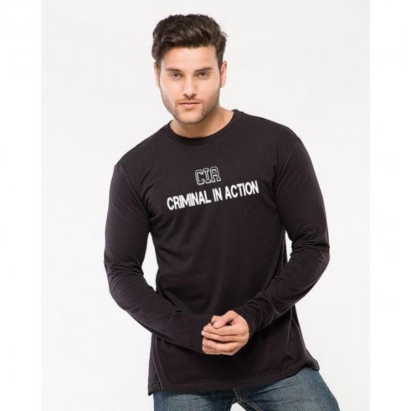 Black Full Sleeves CIA Graphics T shirt