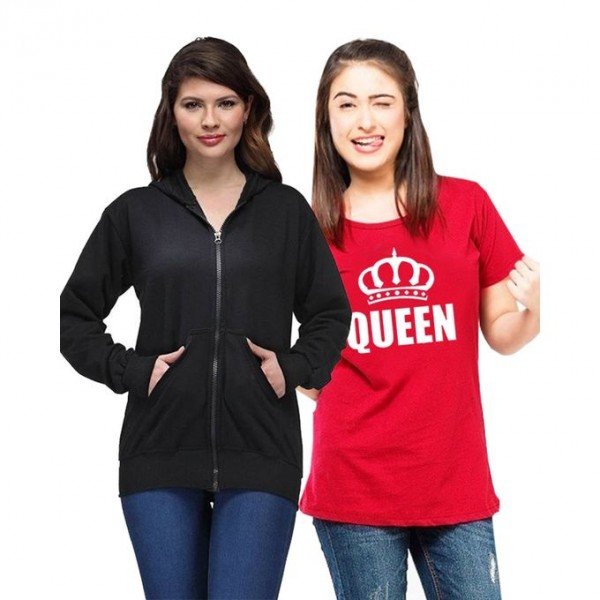 Pack of 1 Hoodie With 1 Queen Printed T shirt