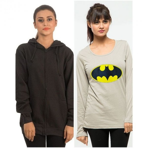 Pack of 1 Hoodie With 1 Batman T shirt For Her