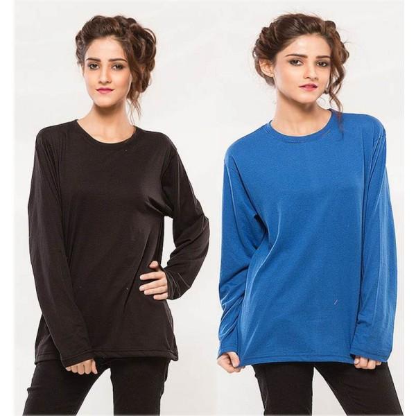 Pack of 02 Full Sleeves Plain T shirt For her