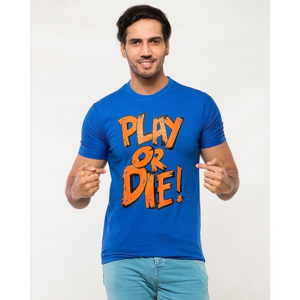Royal Blue Play Or Die Printed Cotton T shirt For Him