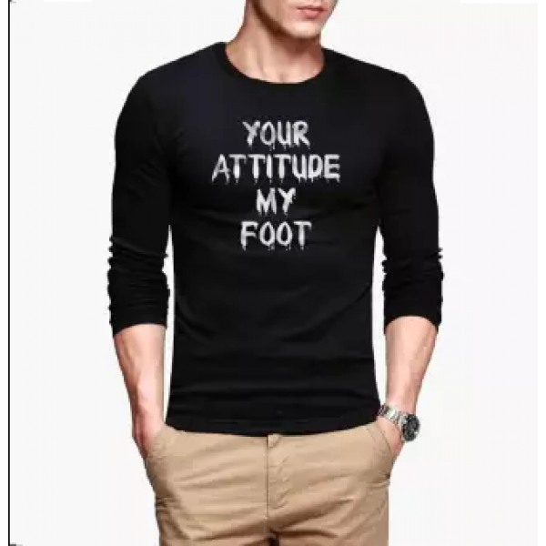 Black Your Attitude My Foot Printed Cotton T shirt For Him