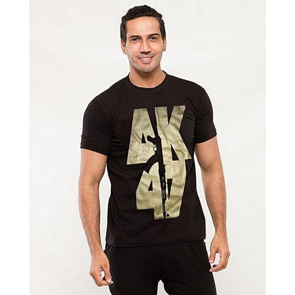 Black color AK-47 Printed T shirt For Him