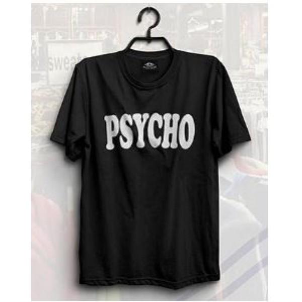 Black PSYCHO Printed Cotton T shirt - unisex tshirt