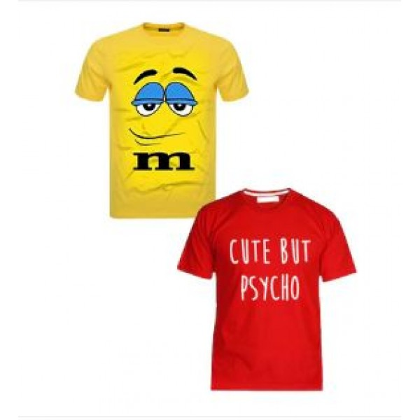 Pack of 02 Cotton Printed T shirts