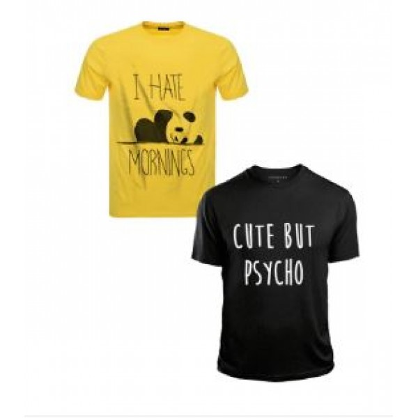 Pack of 02 Cotton Printed Trendy T shirts