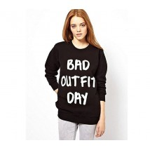Bad Outfit Day Printed Black Sweat shirt For Her