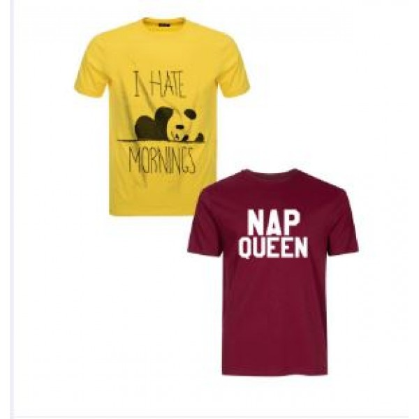 Pack of 02 Cotton Printed T shirts For Her in Yellow and Maroon