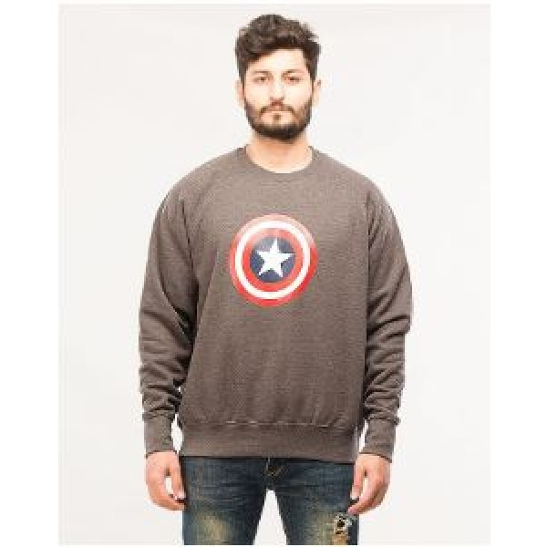 Charcoal Captain America Printed Sweat Shirt For Him