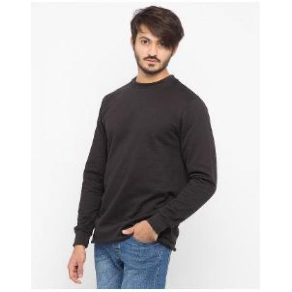 Black Plain Fleece Sweat Shirt For Him