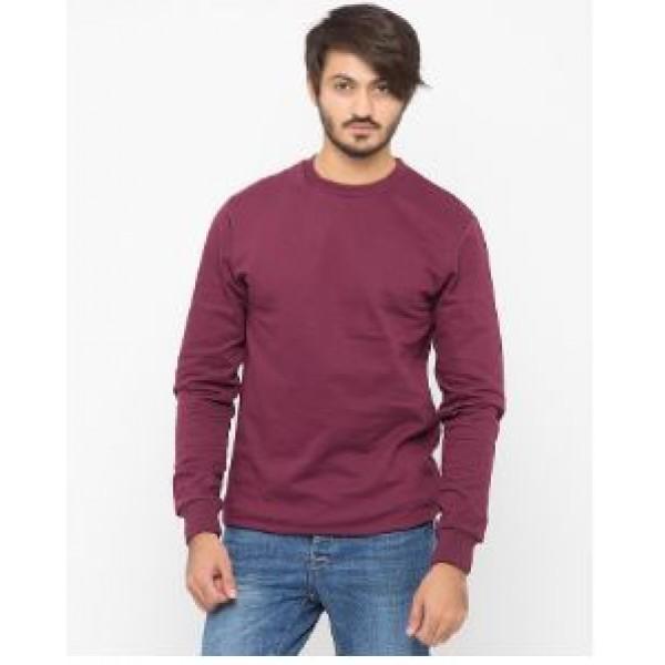 Maroon Plain Sweat Shirt For Him