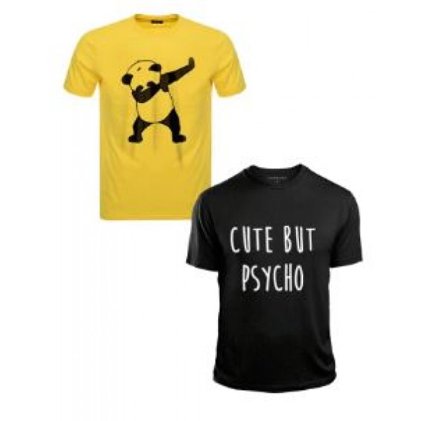 Pack of 02 yellow and black Cotton Printed T shirts