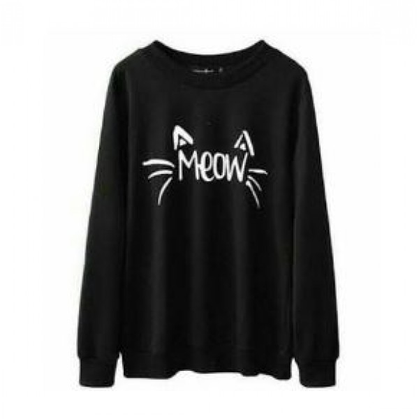 Black Meow Printed Sweat Shirt For Her