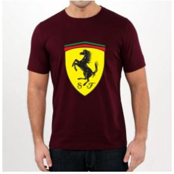 Maroon Ferrari Printed Cotton T shirt For Him