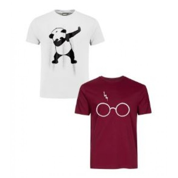 Pack of 02 Cotton Printed T shirts For Him