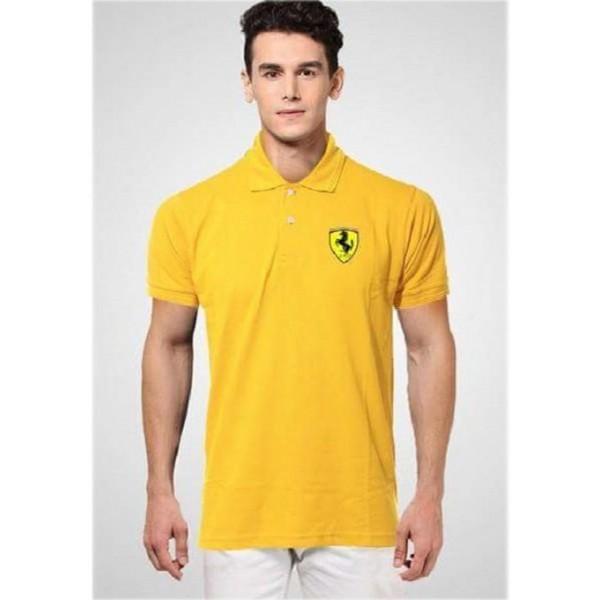 Yellow Ferrari Logo Polo Shirt For Him