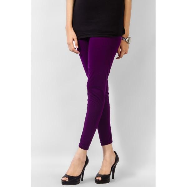 Plain Purple Viscose Tight For Her