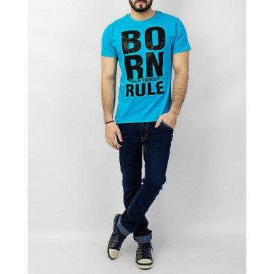 Turqoise Born To Rule Printed Cotton T shirt