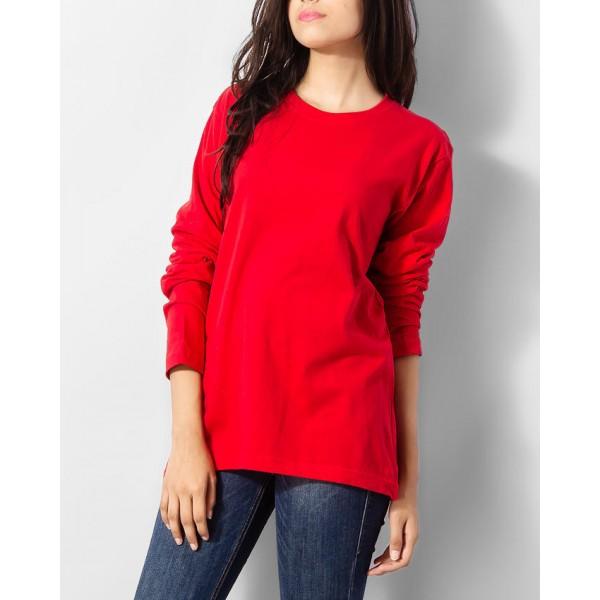 Womens Red Full Sleeves Tshirt