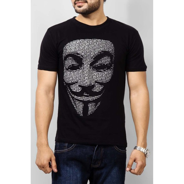 Black Vendetta Mask Printed Cotton T shirt For Him