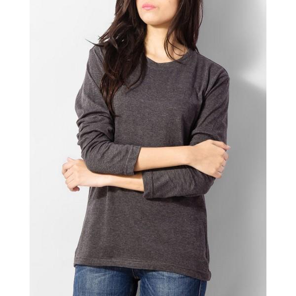 Womens Charcoal Full Sleeves Tshirt