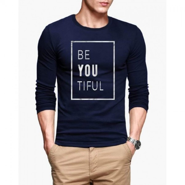 Navy Blue Be-You-Tiful Printed Cotton T shirt For Him