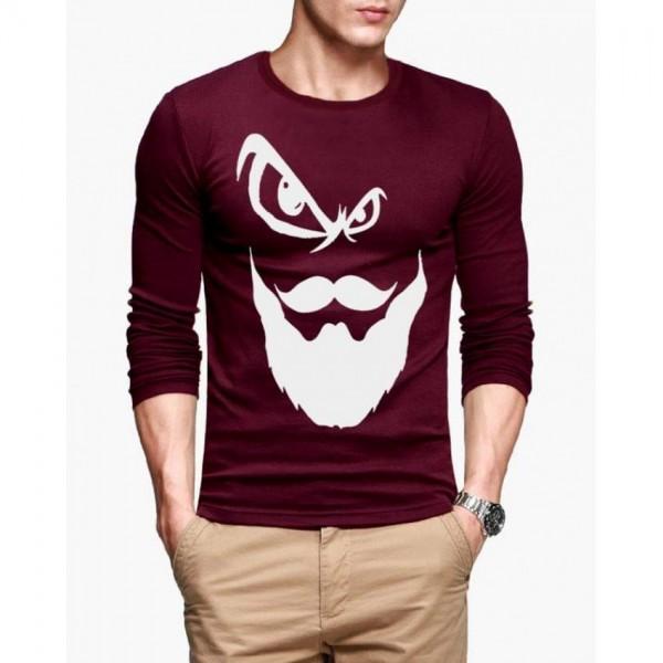 Maroon Angry Man Printed Cotton T shirt