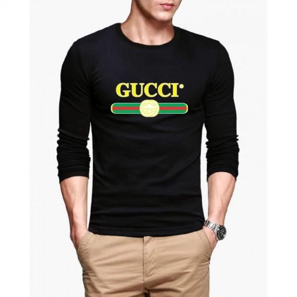 Black Printed Cotton T shirt For Him
