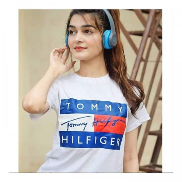 White Colour Printed Cotton T shirt For Her