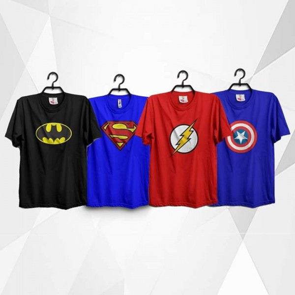 Pack of 04 Super Heroes Printed Cotton T shirts