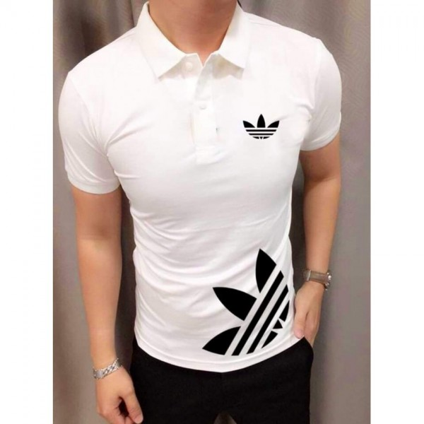 White Cotton Printed Polo Shirt For Him