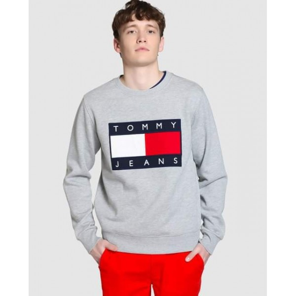 Heather Grey TOMMY HILFIGER Printed Sweat Shirt For Him