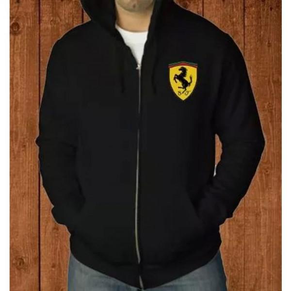Ferrari Logo Zipper Hoodie in Black Color