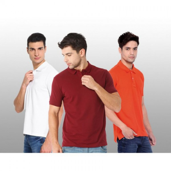 Bundle Offer Pack of 3 Plain Different Colors Polo T-shirts