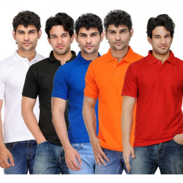 Bundle Offer Pack of 5 Plain Polo T-shirts