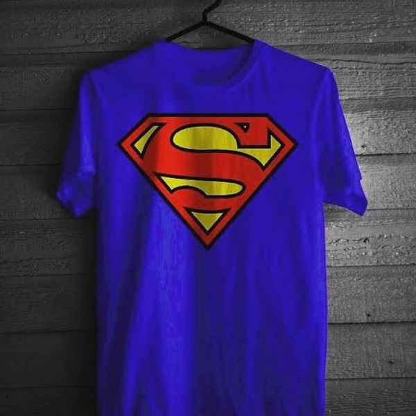 Royal Blue Trendy Super Man T-shirt