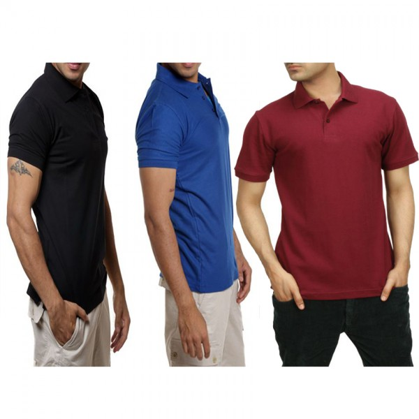 Pack of 03 Plain Polo Shirts For Him