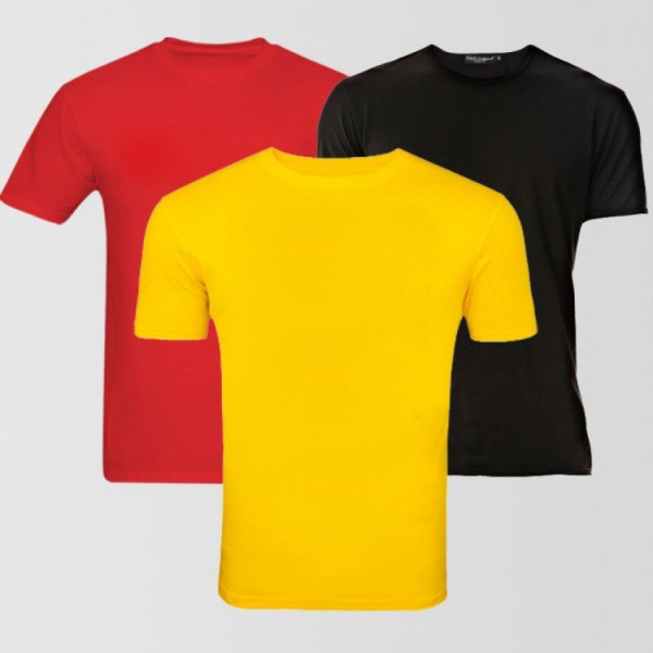 Pack of 03 Plain Cotton T-Shirts For Him